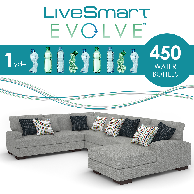 LiveSmart Evolve: 1 yard of fabric is 450 water bottles