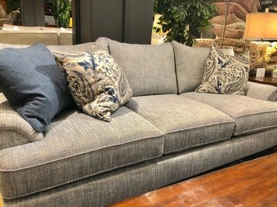 McKittrick fabric on grey sofa